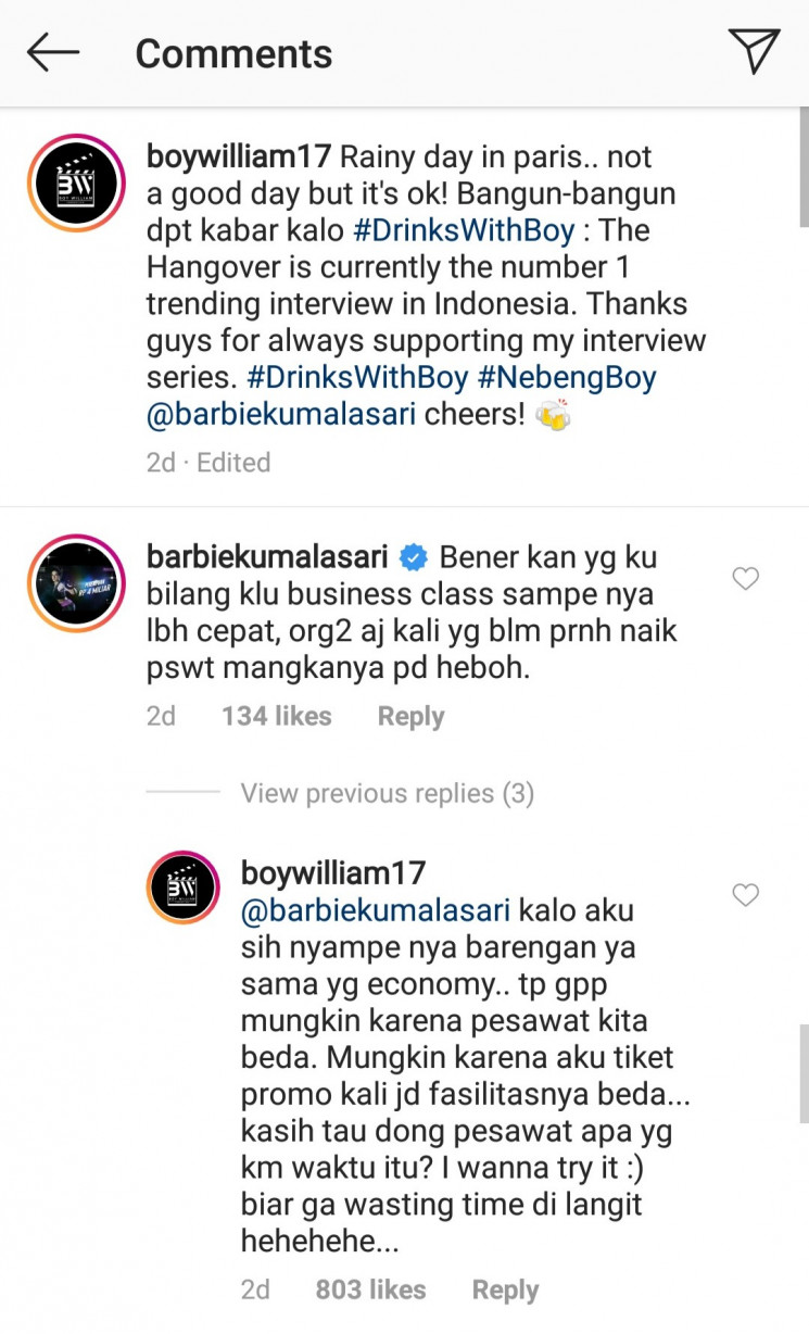 Barbie dan Boy William berbalas komentar